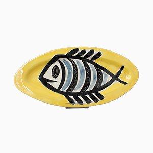 Piatto decorativo in ceramica di Jacques Pouchain, anni '60
