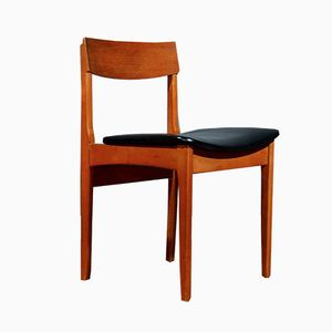 Mid-Century Teak and Leatherette Chairs, Set of 6