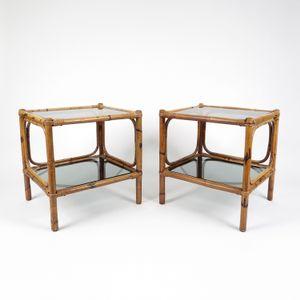 Tavolini in bambù e vetro fumé, anni '70, set di 2