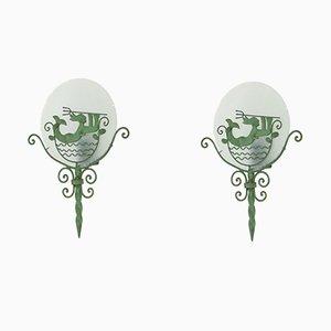 Lámparas de pared Grace suecas, años 20. Juego de 2