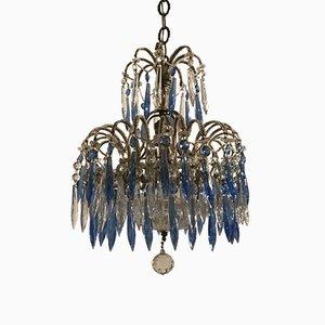 Antiker Kronleuchter aus Kristallglas mit blauen Perlenanhängern
