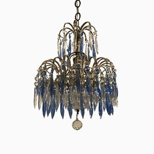 Antique Crystal Beaded Chandelier with Blue Pendants