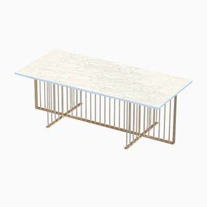 MEISTER Brass-Plated Coffee Table with White Marble Top by Alex Baser for MIIST