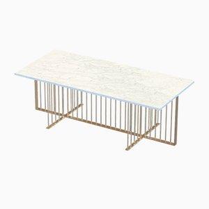 Tavolino da caffè MEISTER in ottone e marmo bianco di Alex Baser per MIIST