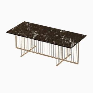 Table Basse MEISTER en Plaqué Laiton avec Marbre Noir par Alex Baser pour MIIST
