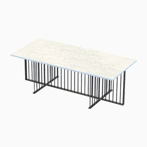 Table Basse MEISTER Noire avec Plateau en Marbre Blanc par Alex Baser pour MIIST
