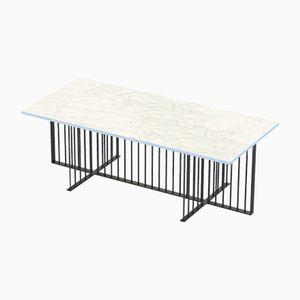 Tavolino MEISTER nero con ripiano in marmo bianco di Alex Baser per MIIST