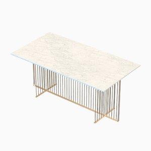 Table Basse MEISTER en Plaqué Laiton avec Marbre Blanc par Alex Baser pour MIIST