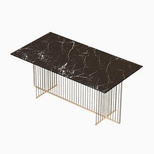 Table Basse MEISTER en Plaqué Laiton avec Plateau en Marbre Noir par Alex Baser pour MIIST