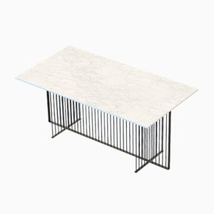 MEISTER Dining Table in Black with White Marble Top by Alex Baser for MIIST