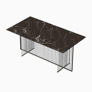 Table de Salle à Manger MEISTER Noire avec Plateau en Marbre Noir par Alex Baser pour MIIST