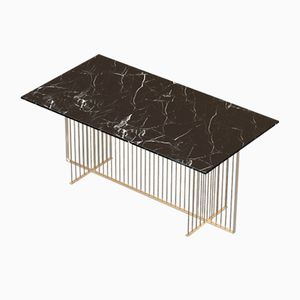 Grande Table de Salle à Manger MEISTER en Plaqué Laiton avec Plateau en Marbre Noir par Alex Baser pour MIIST