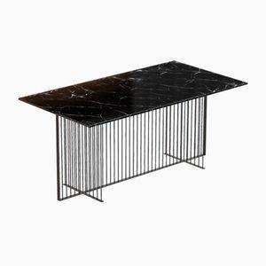 Grande Table de Salle à Manger MEISTER Noire avec Plateau en Marbre Noir par Alex Baser pour MIIST