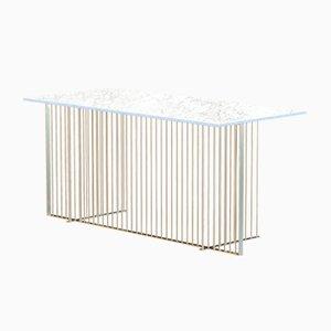 Vermessingter MEISTER Büroschreibtisch mit weißer Tischplatte aus Marmor von Alex Baser für MIIST