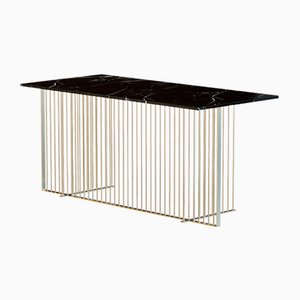 MEISTER Brass-Plated Office Desk with Black Marble Top by Alex Baser for MIIST
