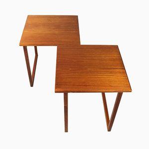 Tables Gigognes Cubiques Vintage par Kai Kristiansen pour Vildbjerg Møbelfabrik, Set de 2