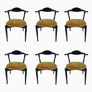 Lackierte italienische Vintage Esszimmerstühle, 1960er, 6er Set