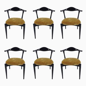 Vintage Italian Lacquered Dining Chairs, 1960s, Set of 6