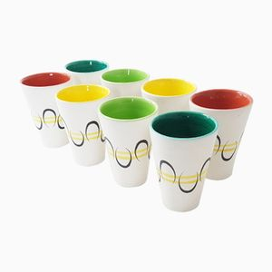 French Ceramic Cups by André Baud for Vallauris, 1950s, Set of 8
