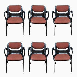 Chaises de Bureau Dorsal en Plastique et Métal par Emilio Ambasz & Giancarlo Piretti pour Openark, 1980s, Set de 6
