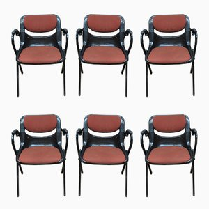 Dorsal Office Chairs in Plastic & Metal by Emilio Ambasz & Giancarlo Piretti for Openark, 1980s, Set of 6