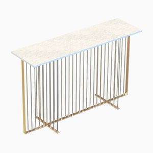 MEISTER Brass-Plated Console Table with White Marble Top by Alex Baser for MIIST