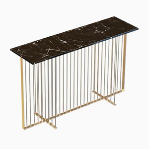 MEISTER Brass-Plated Console Table with Black Marble Top by Alex Baser for MIIST