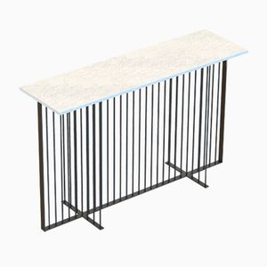 MEISTER Console Table in Black with White Marble Top by Alex Baser for MIIST