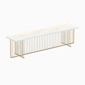 MEISTER Brass-Plated Media Console with White Marble Top by Alex Baser for MIIST