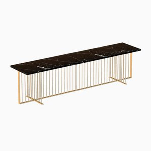 MEISTER Brass-Plated Media Console with Black Marble Top by Alex Baser for MIIST
