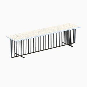 Schwarze MEISTER Medienkonsole mit weißer Tischplatte aus Marmor von Alex Baser für MIIST