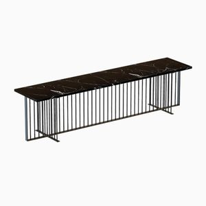 MEISTER Media Console Table in Black with Black Marble Top by Alex Baser for MIIST