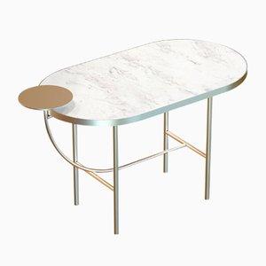 Table Basse EVA en Plaqué Laiton avec Plateau en Marbre Blanc par Alex Baser pour MIIST
