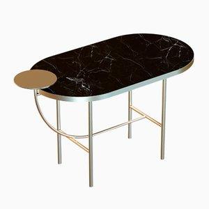 Table Basse EVA en Plaqué Laiton avec Plateau en Marbre Noir par Alex Baser pour MIIST