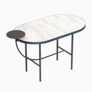Table Basse EVA Noire avec Plateau en Marbre Blanc par Alex Baser pour MIIST