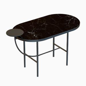 Table Basse EVA Noire avec Plateau en Marbre Noir par Alex Baser pour MIIST