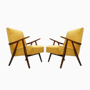Mid-Century Modern Lounge Chairs in Yellow, 1960s, Set of 2
