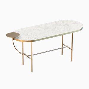 Grande Table Basse EVA en Plaqué Laiton avec Plateau en Marbre Blanc par Alex Baser pour MIIST