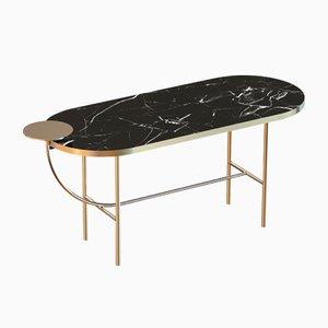Grande Table Basse EVA en Plaqué Laiton avec Plateau en Marbre Noir par Alex Baser pour MIIST