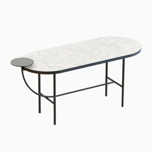 EVA Large Coffee Table in Black with White Marble Top by Alex Baser for MIIST