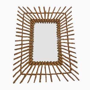 Französischer Spiegel mit Rahmen aus Bambus, 1960er