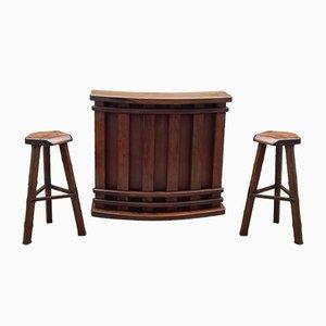 Mueble bar & 2 taburetes de Olavi Hanninen para Mikko Nupponen, años 50