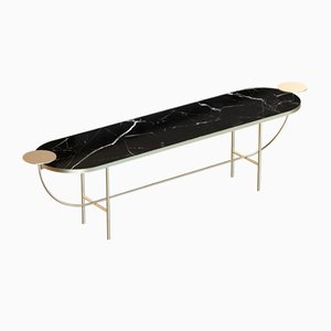 EVA Brass-Plated Media Console with Black Marble Top by Alex Baser for MIIST