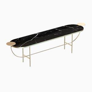 Vermessingte EVA Medienkonsole mit schwarzer Tischplatte aus Marmor von Alex Baser für MIIST