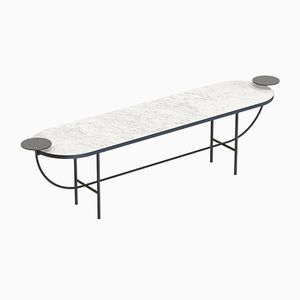 EVA Media Console Table in Black with White Marble Top by Alex Baser for MIIST