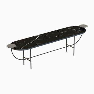 Schwarze EVA Medienkonsole mit schwarzer Tischplatte aus Marmor von Alex Baser für MIIST