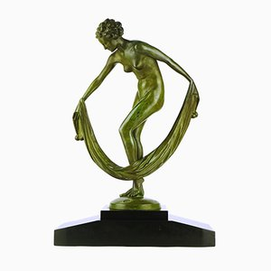 Art Deco Dancer with a Veil Bronze by Leonildo Giannoni, 1935