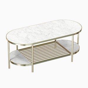 Table Basse TOUCHÉ en Plaqué Laiton avec Plateau en Marbre Blanc par Alex Baser pour MIIST