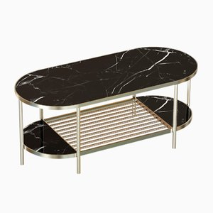 Mesa de centro TOUCHÉ de latón chapado con superficie de mármol negro de Alex Baser para MIIST