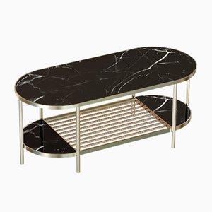 Table Basse TOUCHÉ en Plaqué Laiton avec Plateau en Marbre Noir par Alex Baser pour MIIST